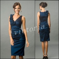 Free Shipping Sexty V-neckline PD001 Dark Navy taffeta Bridesmaid Dresses/Prom Dresses