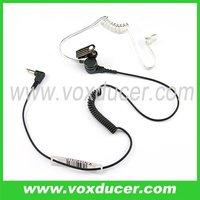 3.5mm jack listen only earphone with clear tube earpiece for speaker mic