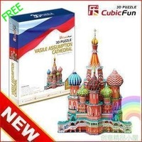 Free shipping, Educational DIY toy, Intelligence toy, Cubic fun,3D puzzle, Large Vasile Assumption Cathedral( Model)