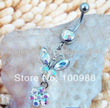 10PCS/Lot Free Shipping,BJ0052 Labret Monroe Internally Piercing rhinestone belly button ring