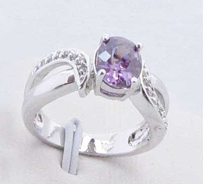 Free Shipping Pretty Jewelry Amethyst 14k White gold gp Ring #6,best gift for X-max(China (Mainland))