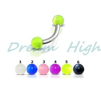 Free Shipping Transparent  Eyebrow Piercing Eyebrow Ring Body Piercing 31 100 pcs/lot Mixed color Promotional Gift