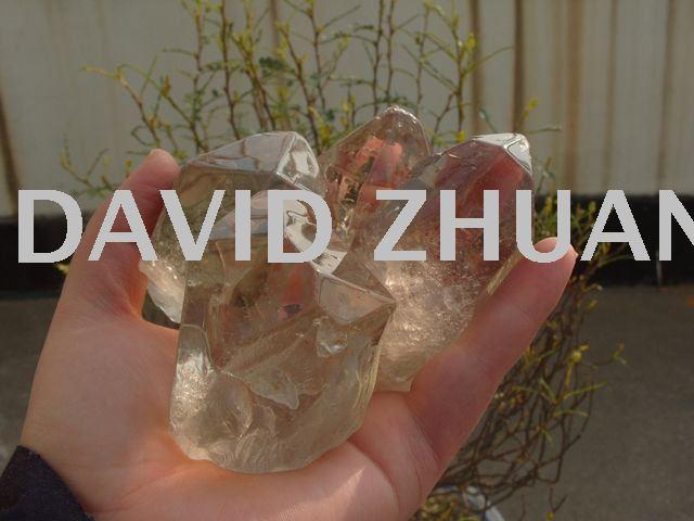 4 NATURAL TRANSPARENT BROWN QUARTZ CRYSTAL GEM ROUGH STONE Healing Free Shipping(China (Mainland))