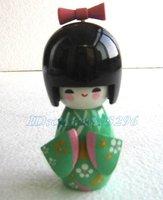 "Free shipping! 2pcs Oriental Japanese Kokeshi dolls wooden doll 5.3"" D11"