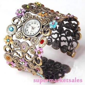 Free ship fee Huge Archaize Flower Zircon Bracelet Antique Bronze Bangle Quartz Watch Easter gift SZB01