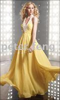 PD035 Free Shipping Gorgeous Halter beaded yellow chiffon bridalmaid dresses