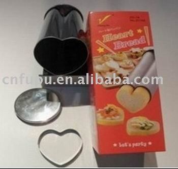 stainless steel heart -shaped  bread box