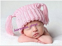 1PC Retail Baby Girls Pink Hat With Earflap Crochet Girl Beanies Photo Prop Free Shipping