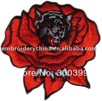 Wholesales 100pcs/lot Biker Patch- Rose Leopard with iron on back N1032+ free shipping