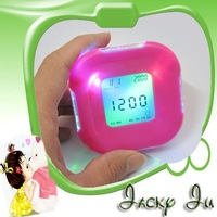 Free Shipping New Four Sided Digital Alarm Clock Timer Thermometer Perpetual Calendar Temp