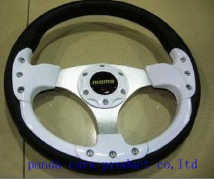 Hot sale NEW Fashion 13inches PU Sport Steering Wheel Car Wheel With high quality Black White Color Free Shipping