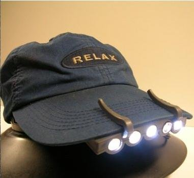 Free shipping 5 LED Cap hat Light Head Lamp Outdoor Fishing Camping Hunting 2 Batteries(China (Mainland))