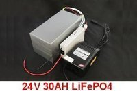 Free shipping! LiFePO4 Battery 24V 30AH with BMS,Fast Charger and Bag