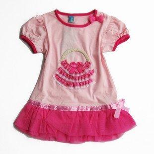 2011 new children's cotton dress cute baby girls wear short-sleeved T shirt veil Long shirt
