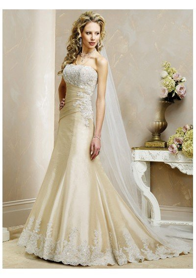 Wholesale - Custom-Made Simple Pretty Flowery Strapless Wedding Dress AXW308(China (Mainland))