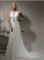 OEM Service  New Style Popular Halter White  Chiffon Wedding Dress&wedding gown&bridal dress