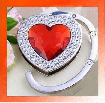 20PCS X Crystal Heart shape Folding Handbag Purse Hook Hanger Holder gift-Red color. Wholesale and Retail. Free shipping.