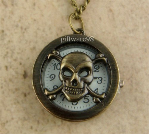 Vintage Copper Bronze Skull Pocket Watch Necklace Pendant J0093(China (Mainland))