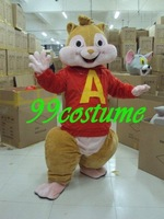 Free Shipping Adult Size Alvin Chipmunks Mouse Cartoon Cosplay Mascot Costume Cosplay Christmas Hallowmas Party Dress