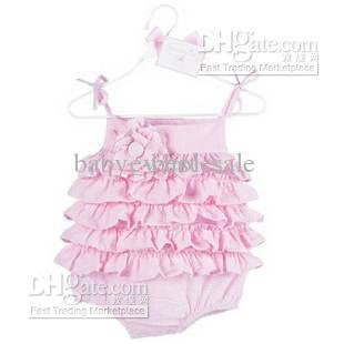 pink baby rompers summer cool layered dress triangle jumpers