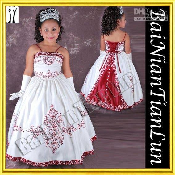Flower Girl Dress Spaghetti Strap embroidery Baby Doll-like Enchanting Little Princess(China (Mainland))