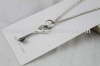 FREE SHIPOPING 3PCS Tibetan Silver heart key Pendant Necklace #20098
