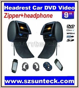 free shipping 9 inch headrest car dvd with zipper +IR wirelss headphone 32bit game+IR+USB+SD+FM