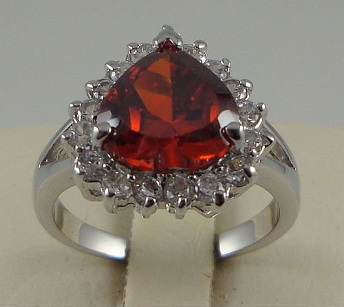Free Shipping New Wholesale and retail Eximious Ruby Ring in 14K White Gold Size 8(China (Mainland))