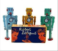 "3pcs/lot free shipping by CPAM Mixed batch of  Classic retro tin toys  gift steel teeth robot clock working robot 6.25"" Tall/pc"