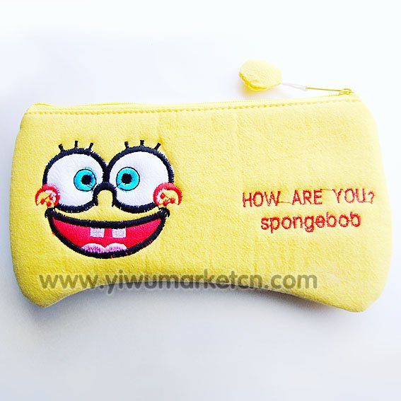 **FREE SHIPPING** SpongeBob pen bag pencil bag pouch stationary cosmetic pouch bargain price product HOT SELLING(China (Mainland))