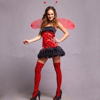 6sets/lot Halloween 2011 Red Cute Bee Mascot Costume Handband+Wing+Skirt not include stockings