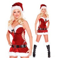 free shipping 4sets/lot Christmas Girl' Costume Sext Fashion Santa Women Holiday Costume Clothing