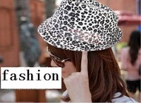 British fashion leisure flanging women's hat tide of spring tide take * leopard grain hat  freeshipping