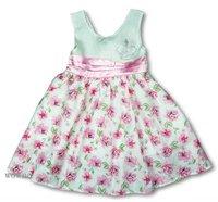 Kd1813  Summer Girl Dress Flower non-sleeve Cothings 7T
