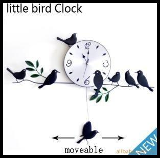 Mute Quartz Little Bird Wall Clock Home Decorative Craft