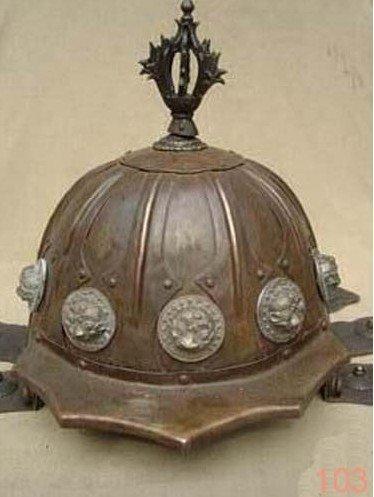 Rare OLD Oriental soldado Collected Copper capacete 100% grátis frete(China (Mainland))