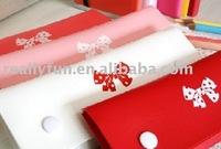 50pcs/lot, Lovely ribbon pencil box / bowknot Pencil Box Pen Bag Makeup Bag PVC Pencil Case