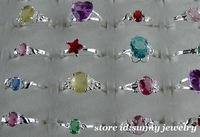 beautiful!!wholesale 20pcs sterling silver mixed CZ rings II,20pcs/lot,Hot!!