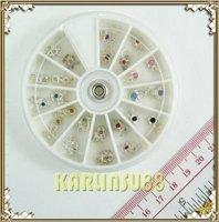 FREE SHIPPING 24 Nail Art Decoration Dangles Charms w/ Rhinestones K402
