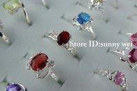 Beautiful!!Wholesale 20pcs 925 Sterling  Silver Jewelry  Mixed CZ Rings,20pcs/lot,Hot!!