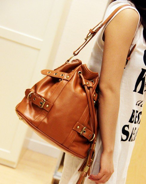 Wholesale - Hot Free Shipping fashion ladies High Quality tassel handbag brown 6727(China (Mainland))