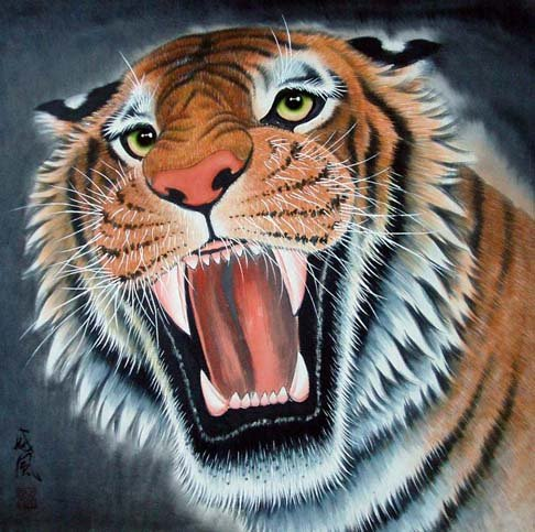 High quality Oriental Asia Chinese watercolor Painting*Tiger* 100% free shipping