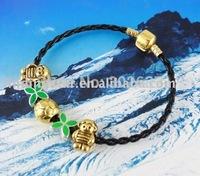 FREE SHIPPING 3PCS European Style Golden Boy Soccer Leather Bracelet #20107