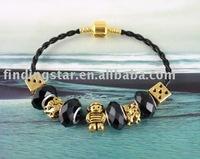 FREE SHIPPING 3PCS European Style Golden Bead Charm Leather Bracelet #20110