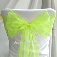 Hot selling 25 Beautiful Wedding Party Banquet APPLE GREEN Chair Organza Sash wedding favour decoration