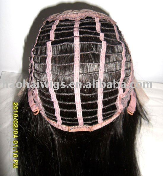 "14""-1#-Silky straight-130%-French lace of medium brown-medium cap-half hand-tied-100% Indian Remy human hair-Lace front wigs(China (Mainland))"