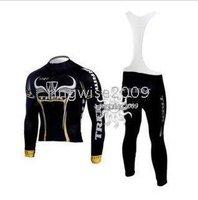 Free Shipping!! CYCLING LONG JERSEY+BIB PANTS 2009 TREK-BLACK--SIZE:S-4XL