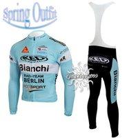 Free Shipping!! CYCLING LONG JERSEY+BIB PANTS 2010 BIANCHI-BLUE--SIZE:S-4XL