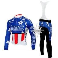 Free Shipping!! CYCLING LONG JERSEY+BIB PANTS 2010 BMC-BLUE--SIZE:S-4XL