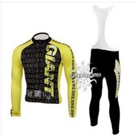 Free Shipping!! CYCLING LONG JERSEY+BIB PANTS 2010 GIANT--Yellow&BLACK--SIZE:S-4XL